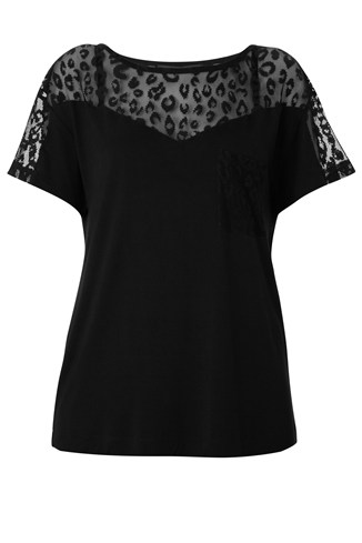 Leopard Lace Jersey Top