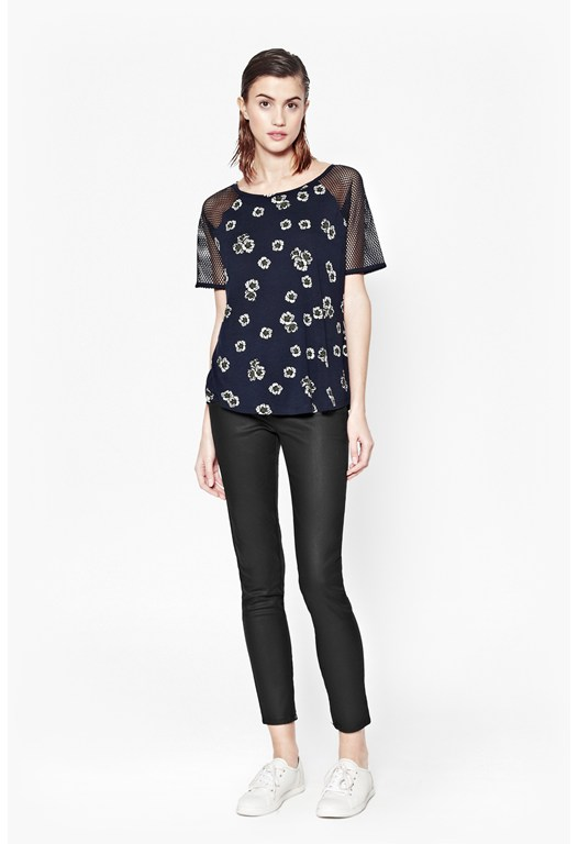 Eddy Floral Mesh Sleeve Top