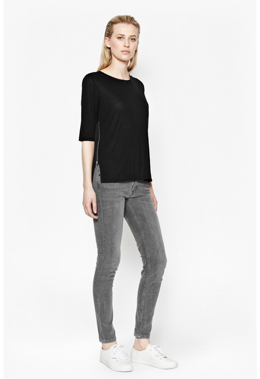Polly Plains Zip Detail Top