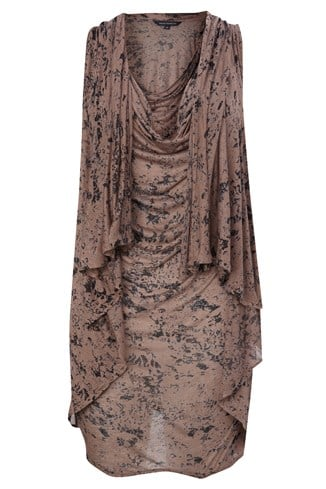 Jersey Cowl Neck Drape Pattern Top Brown