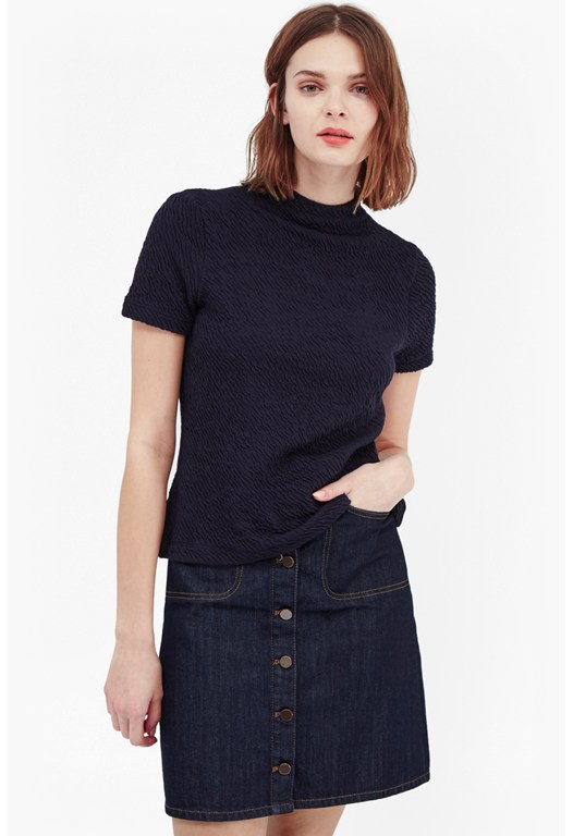 Ripple Funnel Neck Jersey Top