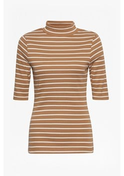 Duty Striped Polo Neck Top