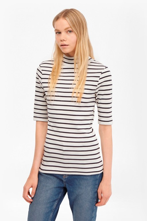 Complete the Look Duty Striped Polo Neck Top