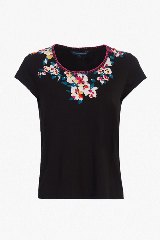 Complete the Look River Daisy Printed Stitch Neck T-Shirt