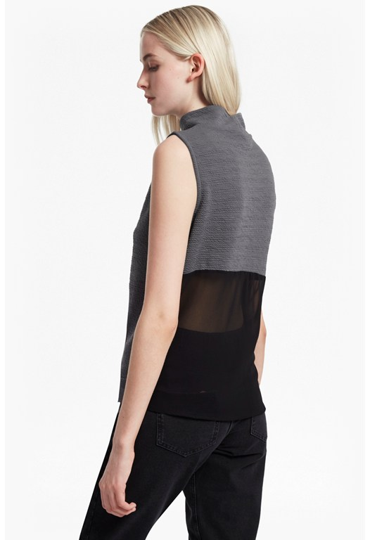 Sudan Sunray Chiffon Back Sleeveless Top
