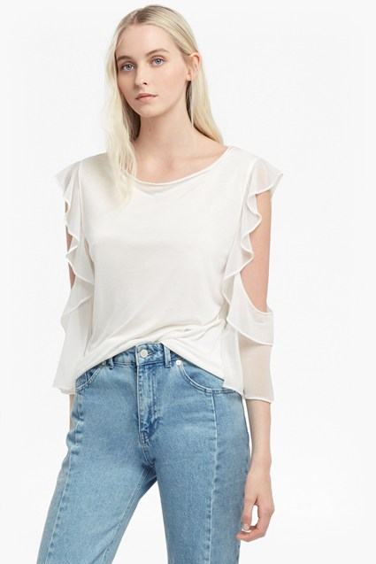 Ruffle Mix Jersey Top
