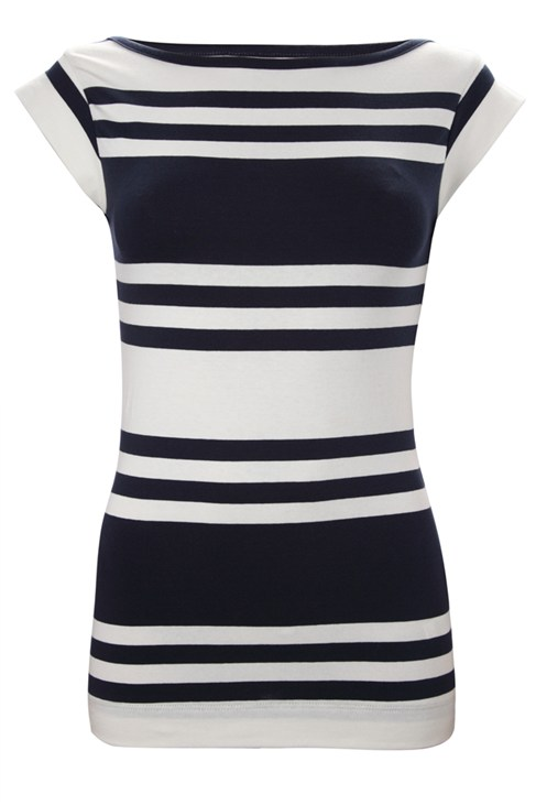 Cap Sleeve Cotton Stripe Tee Blue