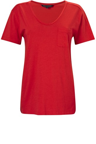 Short Sleeve Pocket Scoop Neck Jersey Tee Red