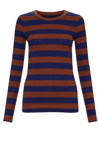 Long Sleeve Cotton Stripe Round Neck Tee Brown