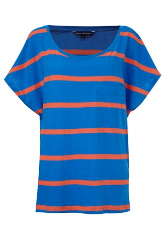 French Connection Oversized Scoop Neck Stripe Tee Blue, Orange, White