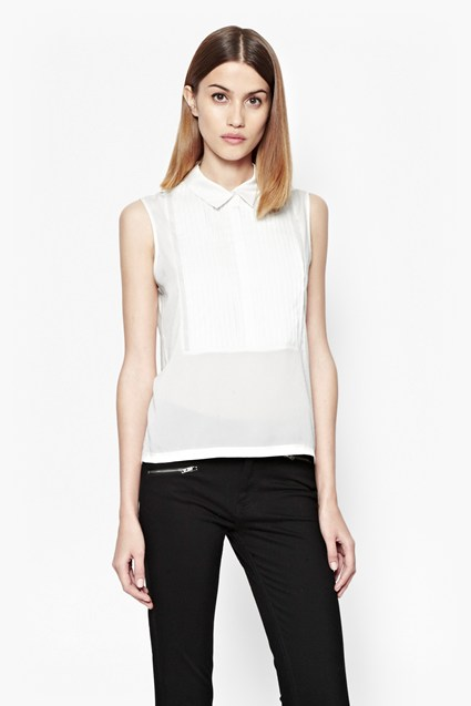 Polly Pleated Collared Top