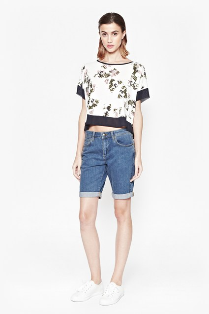 French Scatter Cropped T-Shirt