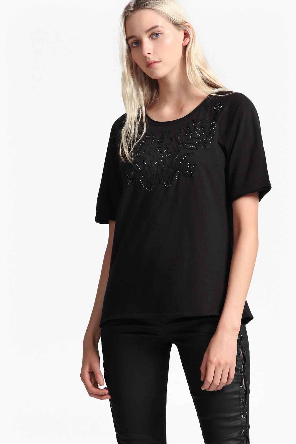 6e90506e634a1 Esme Ribbon Embellished T-Shirt | Collections | French Connection