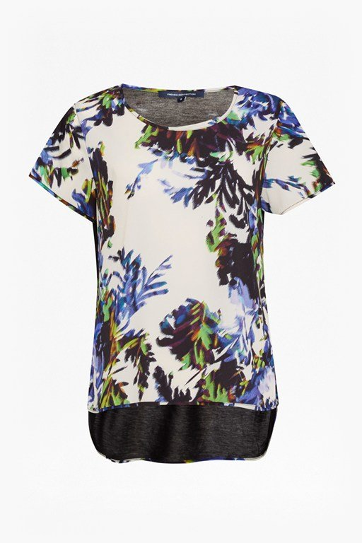 kiki palm printed polly top
