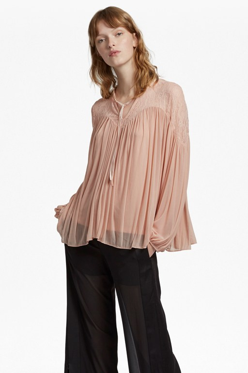 lassia lace jersey tie neck top