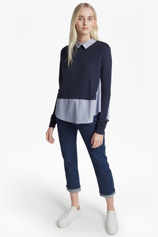 fresh jersey stripe long sleeve jumper