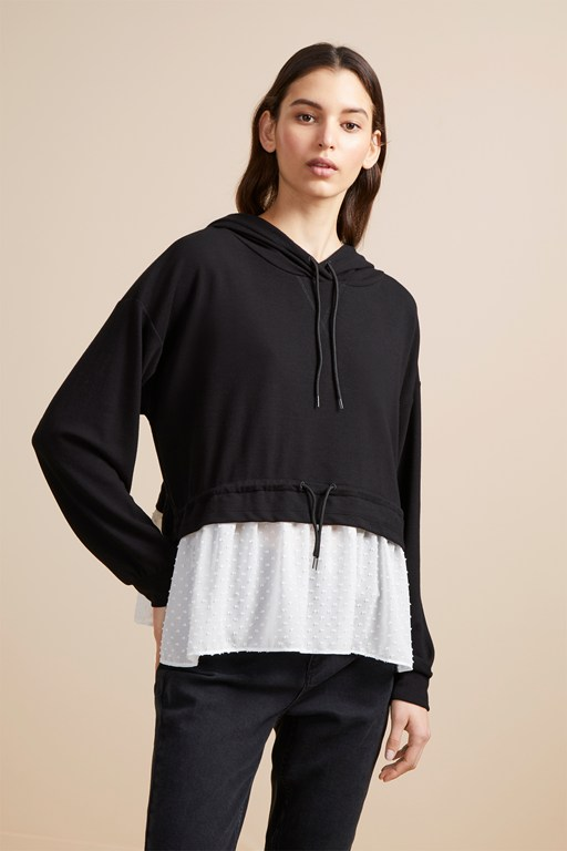 cantin double face jersey hooded top