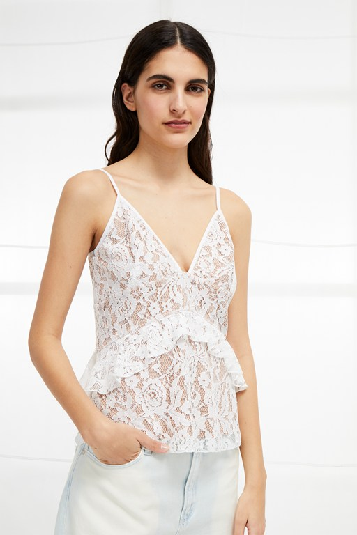 delos lucky layer lace strappy top