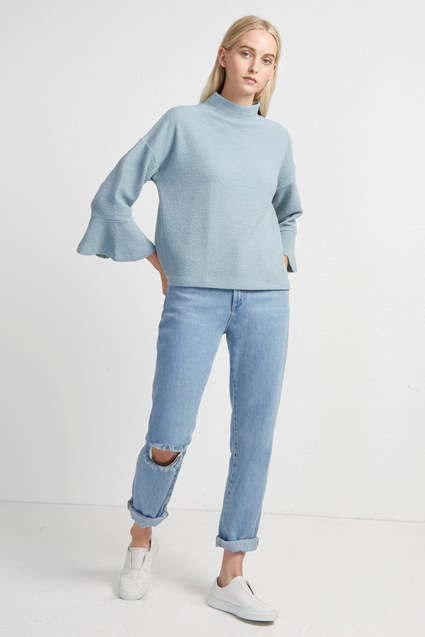 Ellen Texture Mock Neck Top