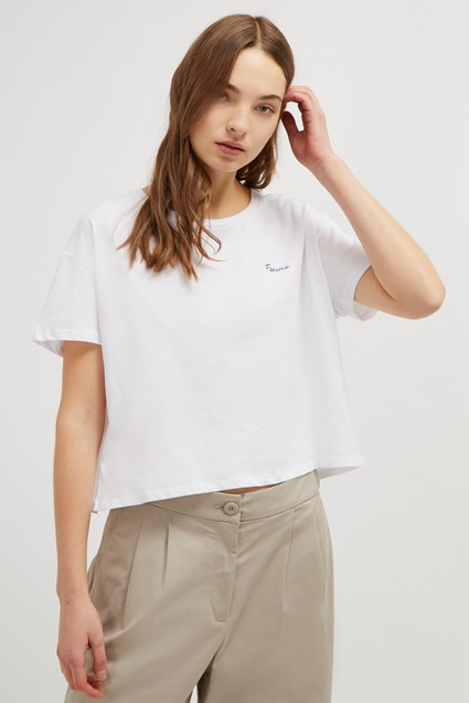 Femme Slogan Cropped Tee
