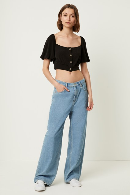 Serafina Slinky Puff Sleeve Crop Top