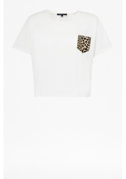 Leopard Pocket Oversized Cropped T-shirt