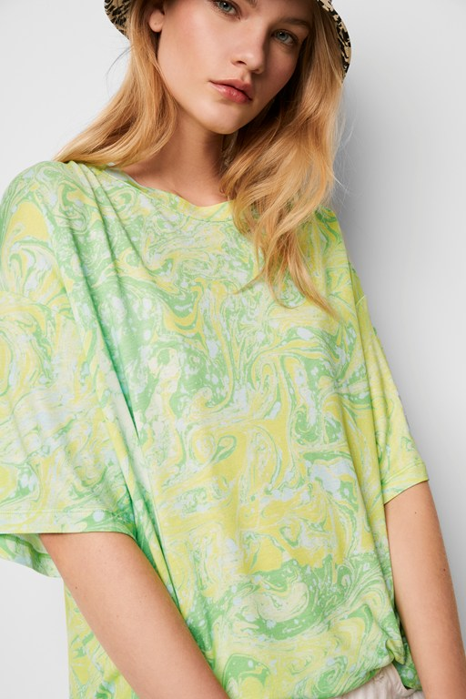 samira aquarelle meadow neon t-shirt