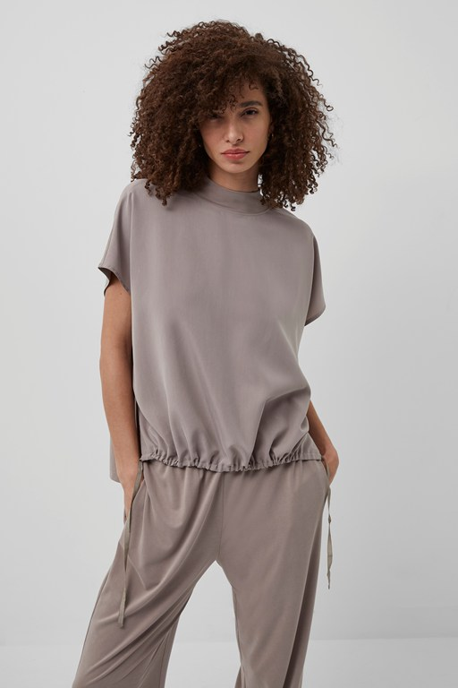 Complete the Look Renya Cupro Drawstring Hem Top