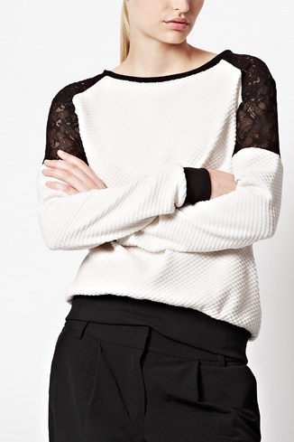 Honey Lace Insert Sweatshirt