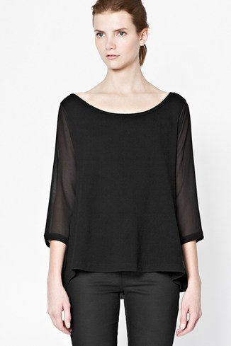Semi-Sheer Panel Top