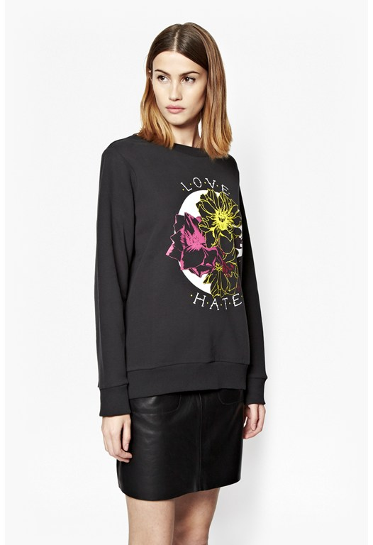Botanical Print Cotton Sweatshirt