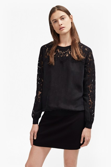 Aries Cupro Lace Sleeved Sweatshirt