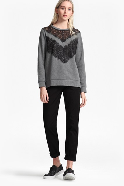 Misty Lace Insert Sweatshirt