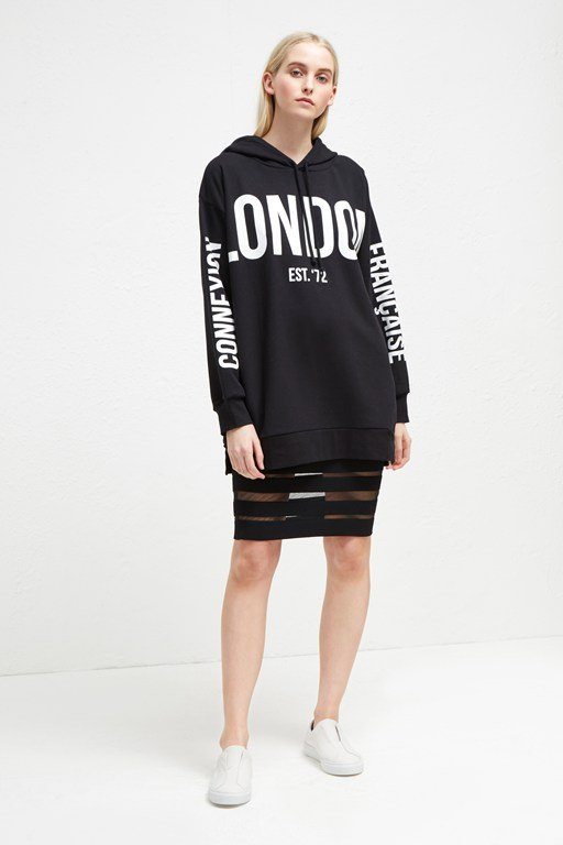 graphic sweat jersey hoodie