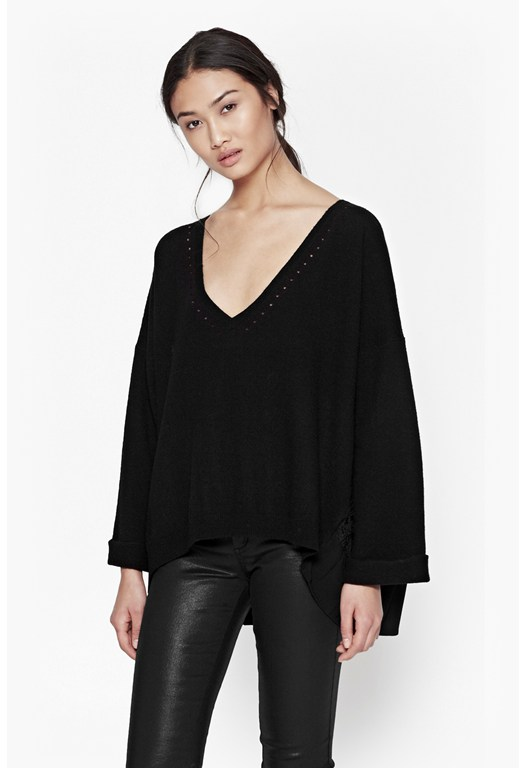 Arrow Pleated Crepe Jumper