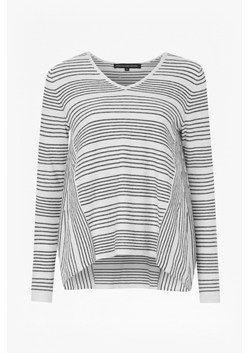 Pinstripe Crochet Trim Detail Jumper