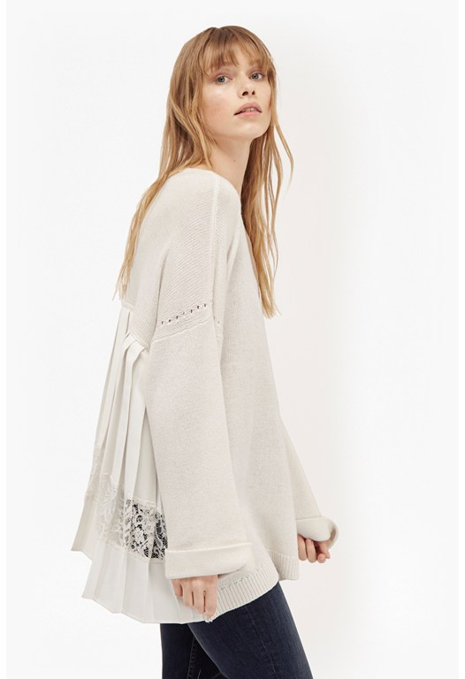 Arrow Crepe Pleated Back Jumper