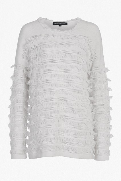 Pointelle Fringing Oversized Jumper