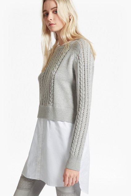 Crochet Cable Knit Jumper Shirt