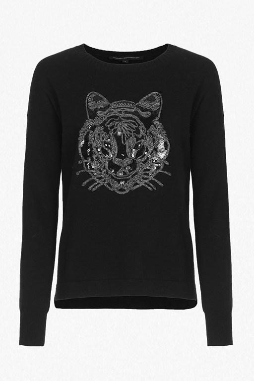 Complete the Look Animal Knit Tiger Sequin Jumper