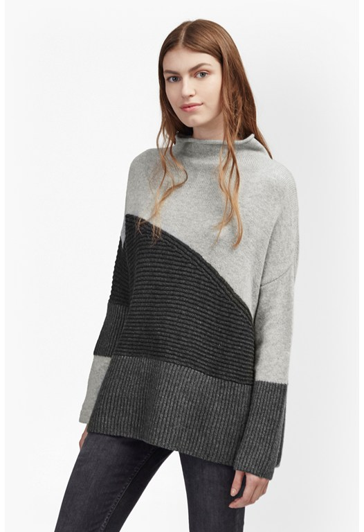 Patchwork Tonal High Neck Jumper