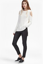 Looks Great With Cold Shoulder Knitted Cotton Jumper