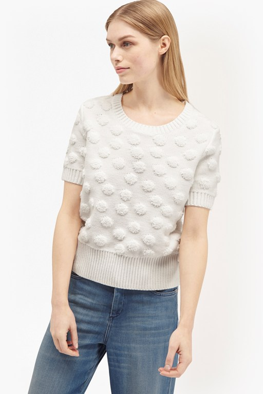 loopy polka  sleeves textured knit