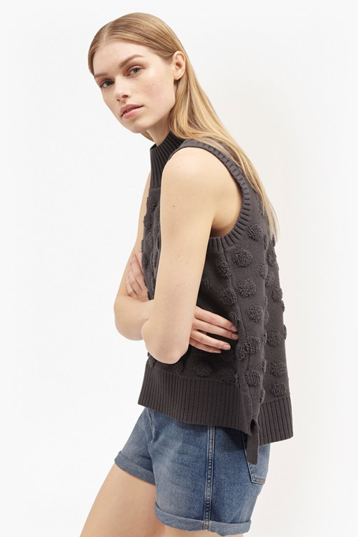 Complete the Look Loopy Polka Sleeveless Textured Knit