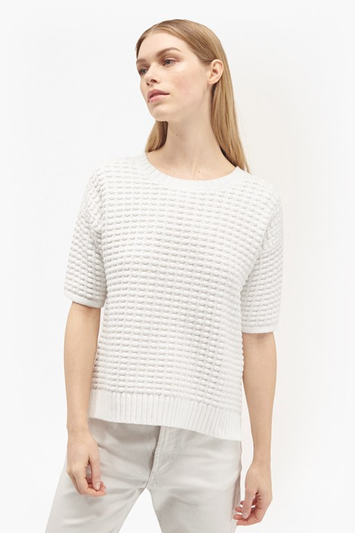 popcorn stitch short sleeved knit