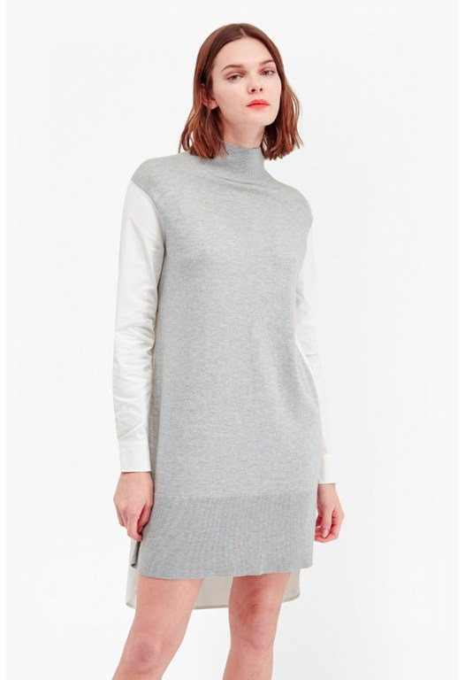 Naomi Knits Mixed Fabric Shirt Dress