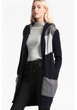 Patchwork Tonal Knit Hooded Cardigan