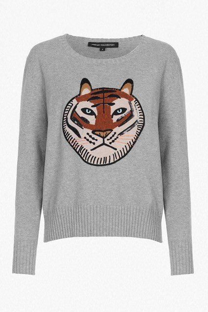 Tiger Knit Embroidered Jumper