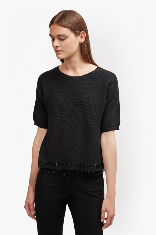 embellished fringe ribbed jumper
