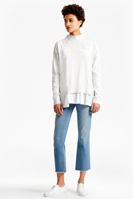 Spring Alice Frill Hem Embroidered Jumper
